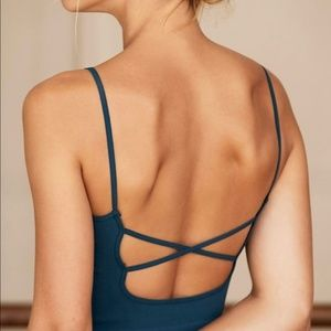 Free People Turquoise Strappy Back Tighten Up Tank